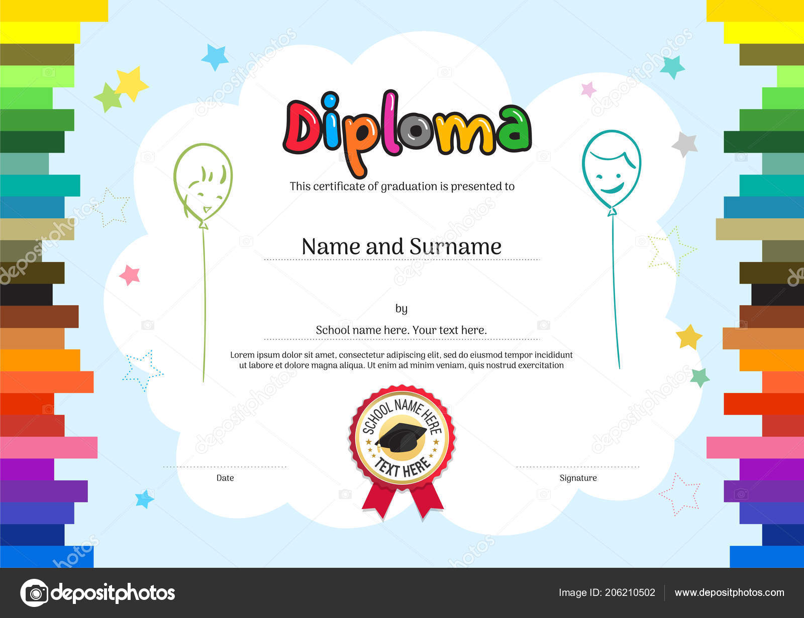 Kids Diploma Certificate Template Colorful Background Stock Vector