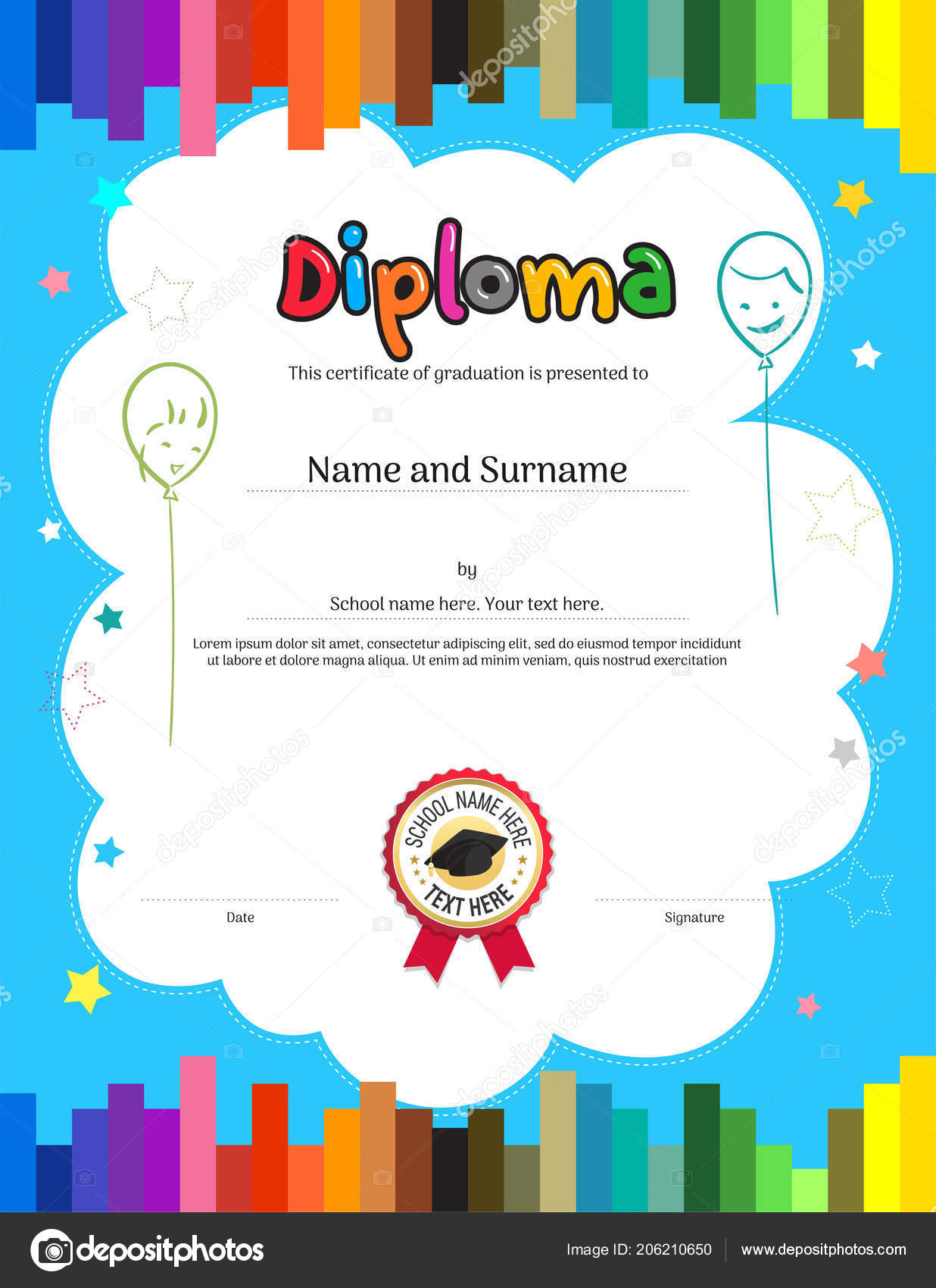Kids Diploma Certificate Template Colorful Stripe Background — Stock ...