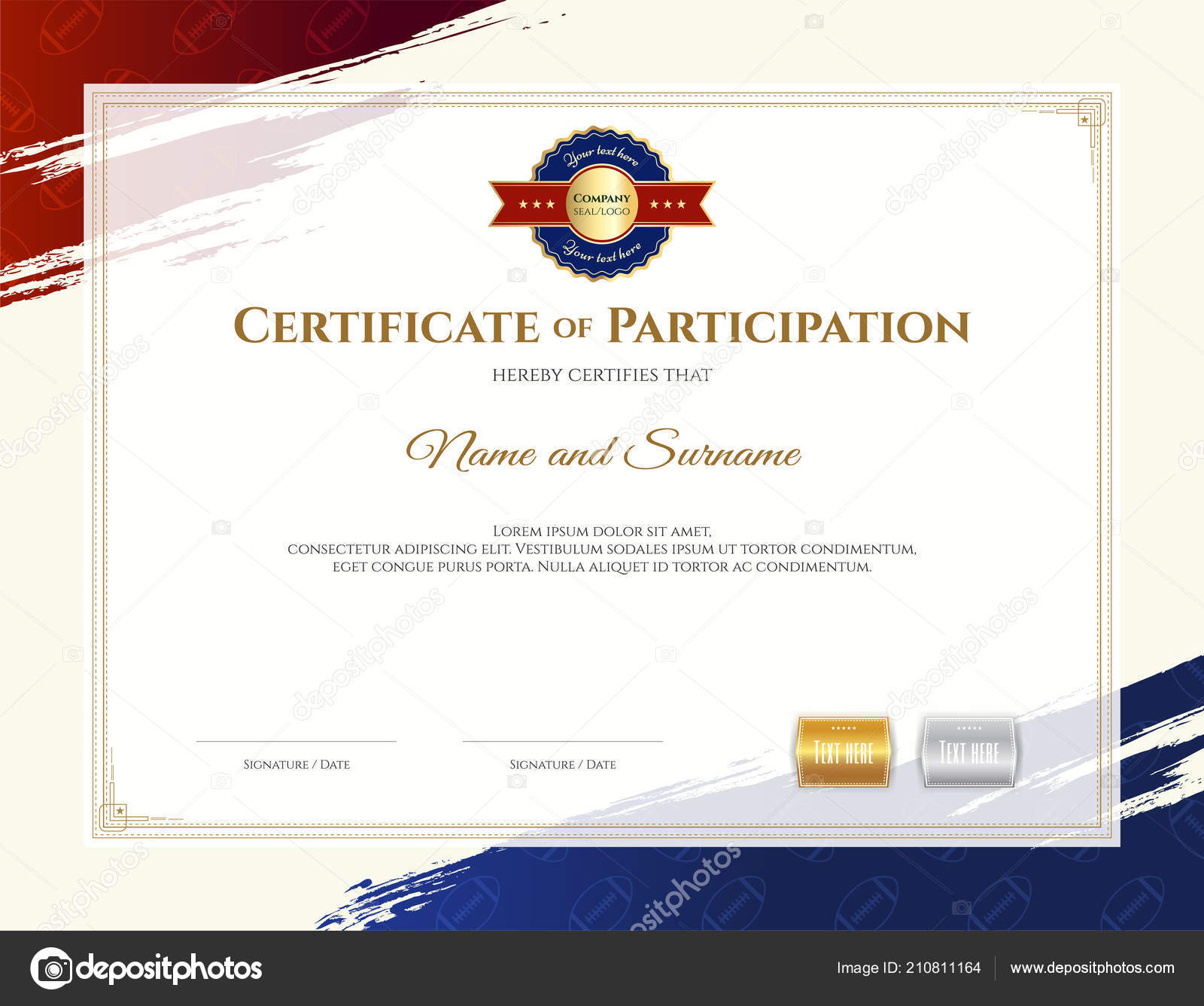 certificate template rugby sport theme border frame diploma design