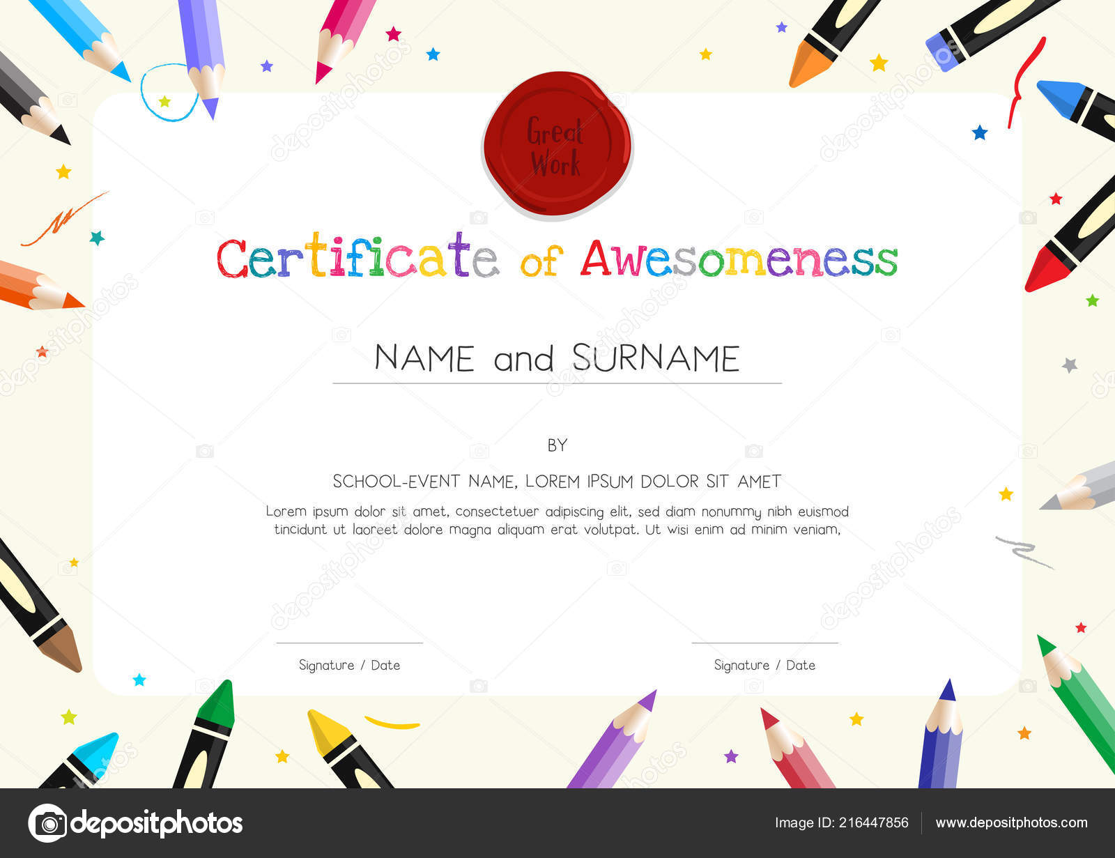 Kids Diploma Certificate Template Painting Stuff Border Stock Pertaining To Free Printable Certificate Templates For Kids