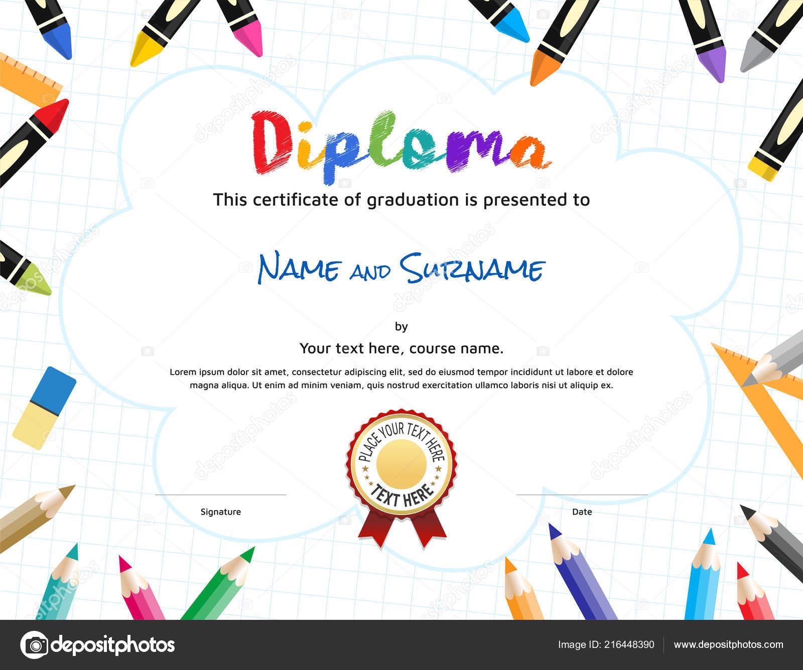 kids diploma certificate template painting stuff border stock
