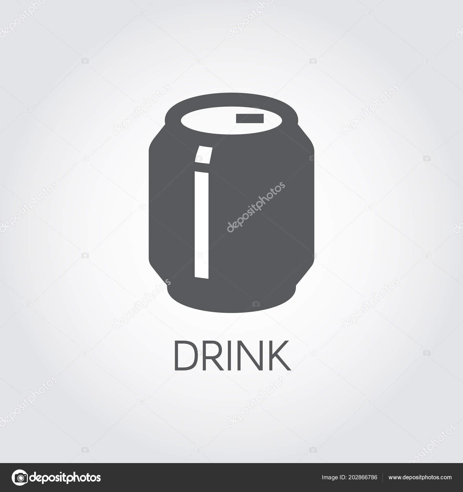 tin can with drink glyph icon. abstract soft drink, beer or lemonade