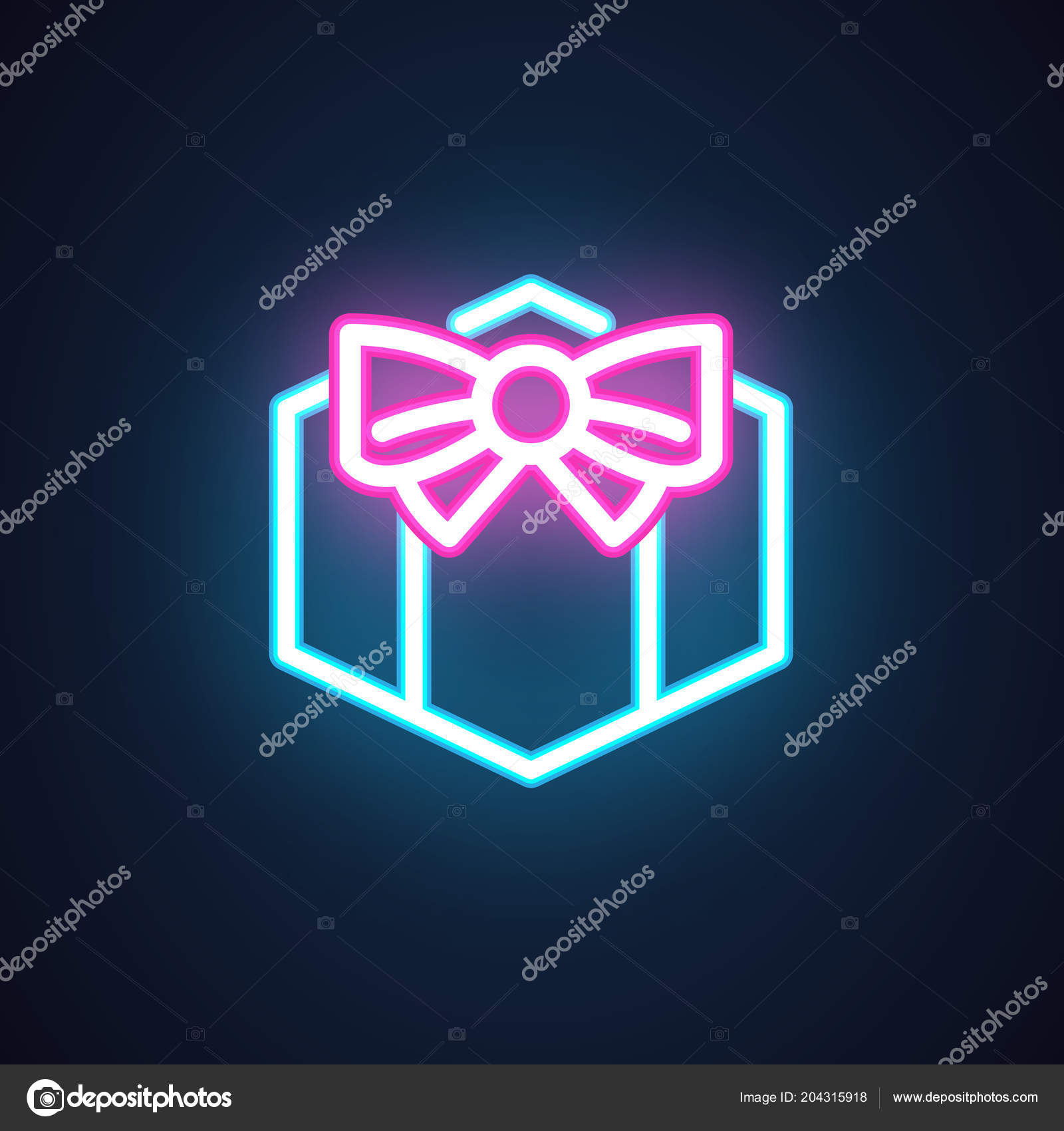 Gift Box With Bow Neon Icon Fluorescent Greeting Symbol Present