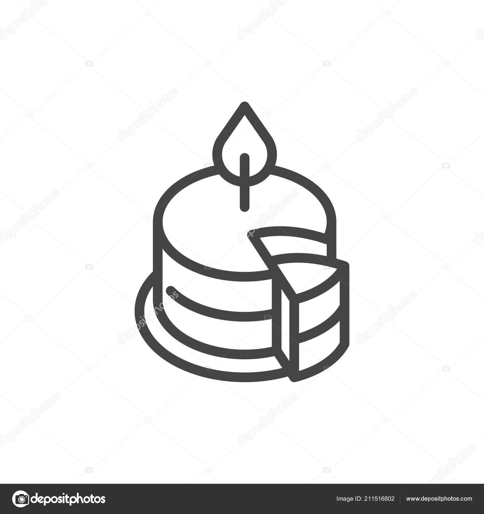 Birthday Cake With Burning Candle Outline Icon Symbol Of Party