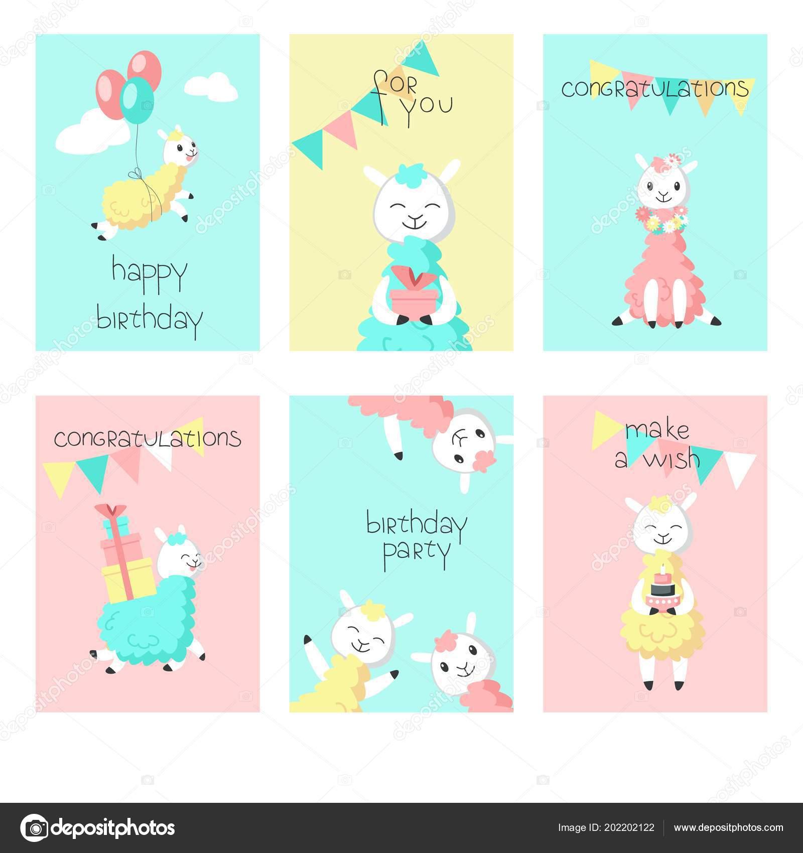 Alpaca Birthday Greeting Cards Vector Illustration Stock Vector