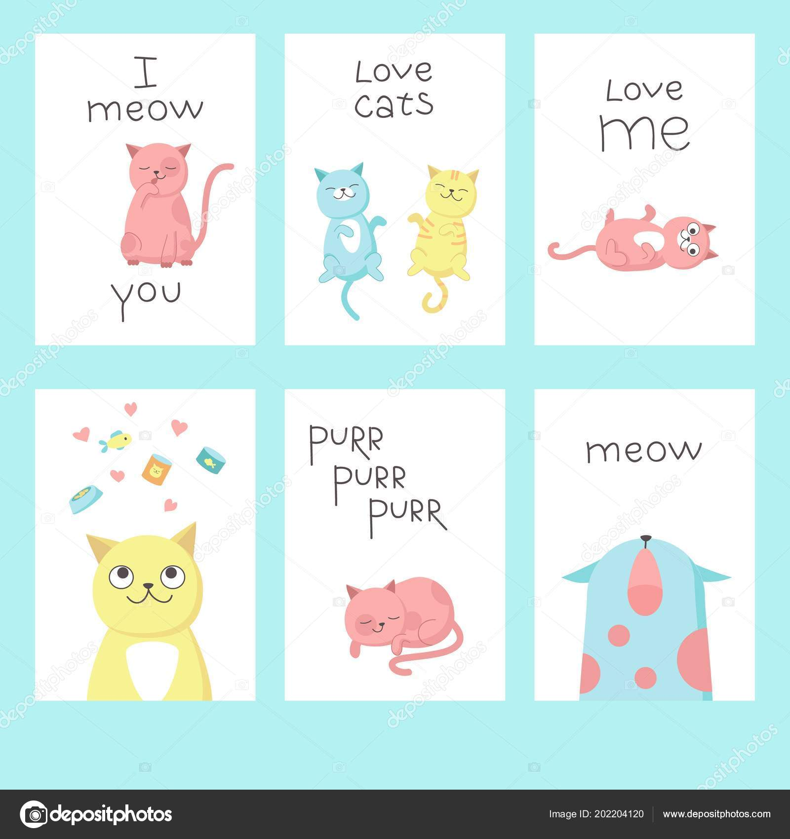 Love Cats Greeting Cards Vector Illustration Stock Vector