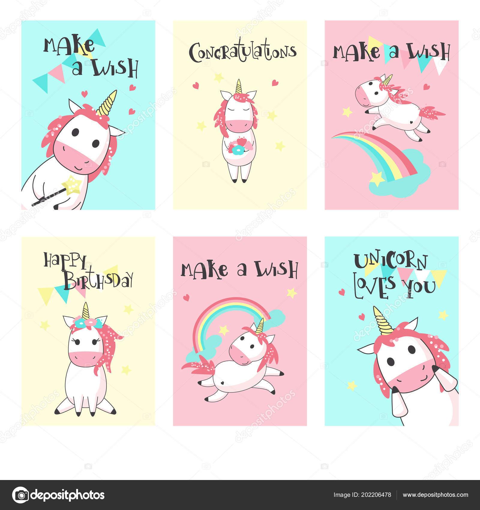 e1cd3fe086858 Conjunto de vectores de tarjetas de felicitación de cumpleaños de  unicornio– ilustración de stock