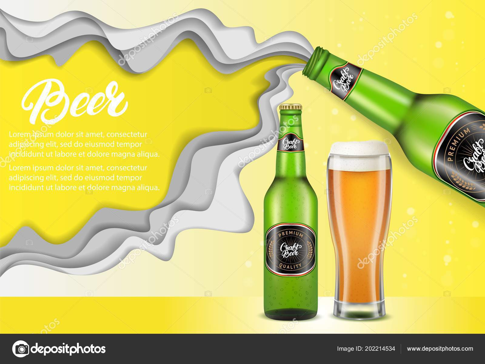 Vector Paper Cut Craft Beer Poster Template Stock Vector