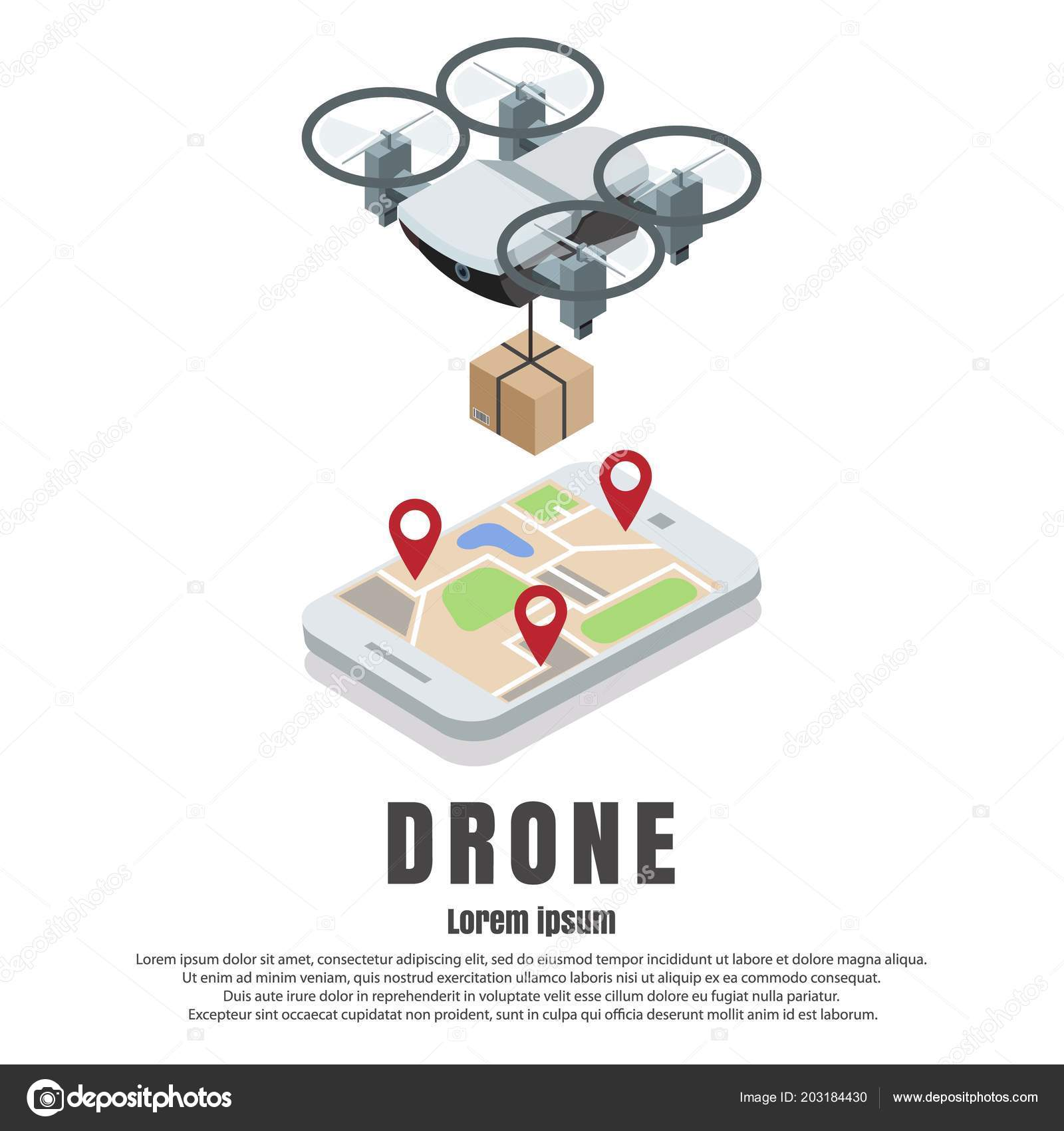 Smartphone Controlled Drone Parcel Vector Isometric Illustration