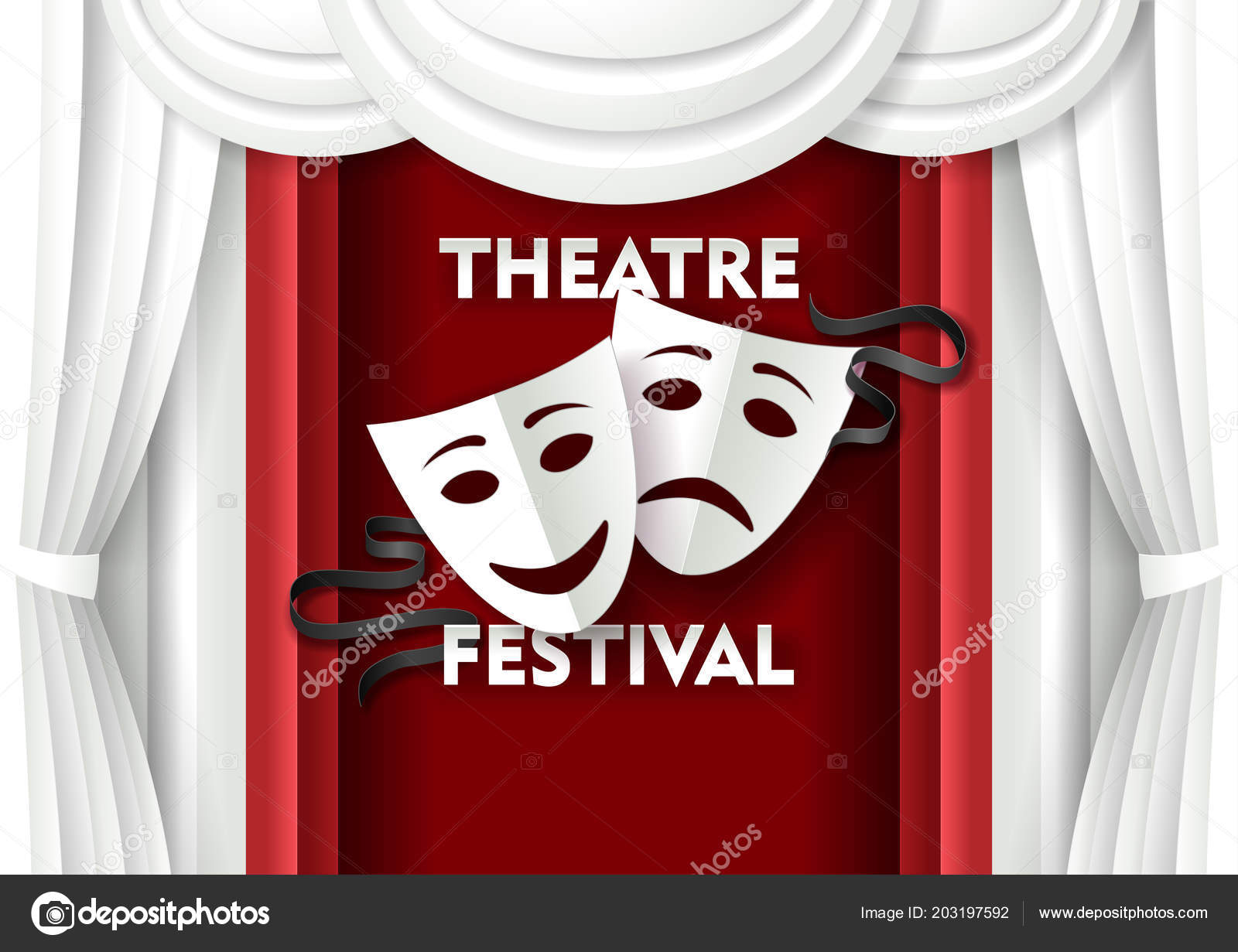 Vector Paper Cut Theater Festival Poster Template Stock