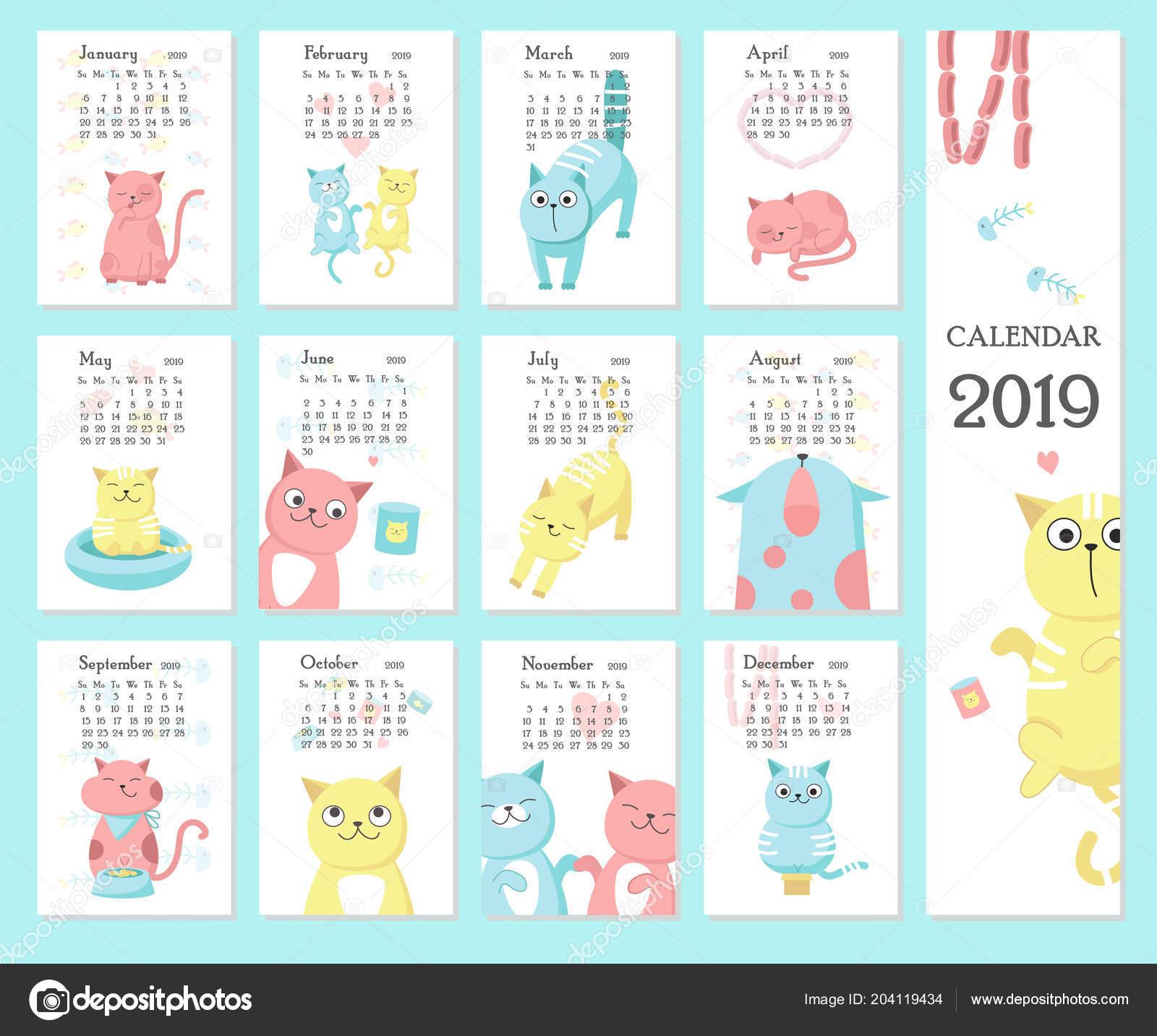 Calendario 2020 Chile Vector.Calendar 2019 Vector Template With Cute Cats Stock Vector