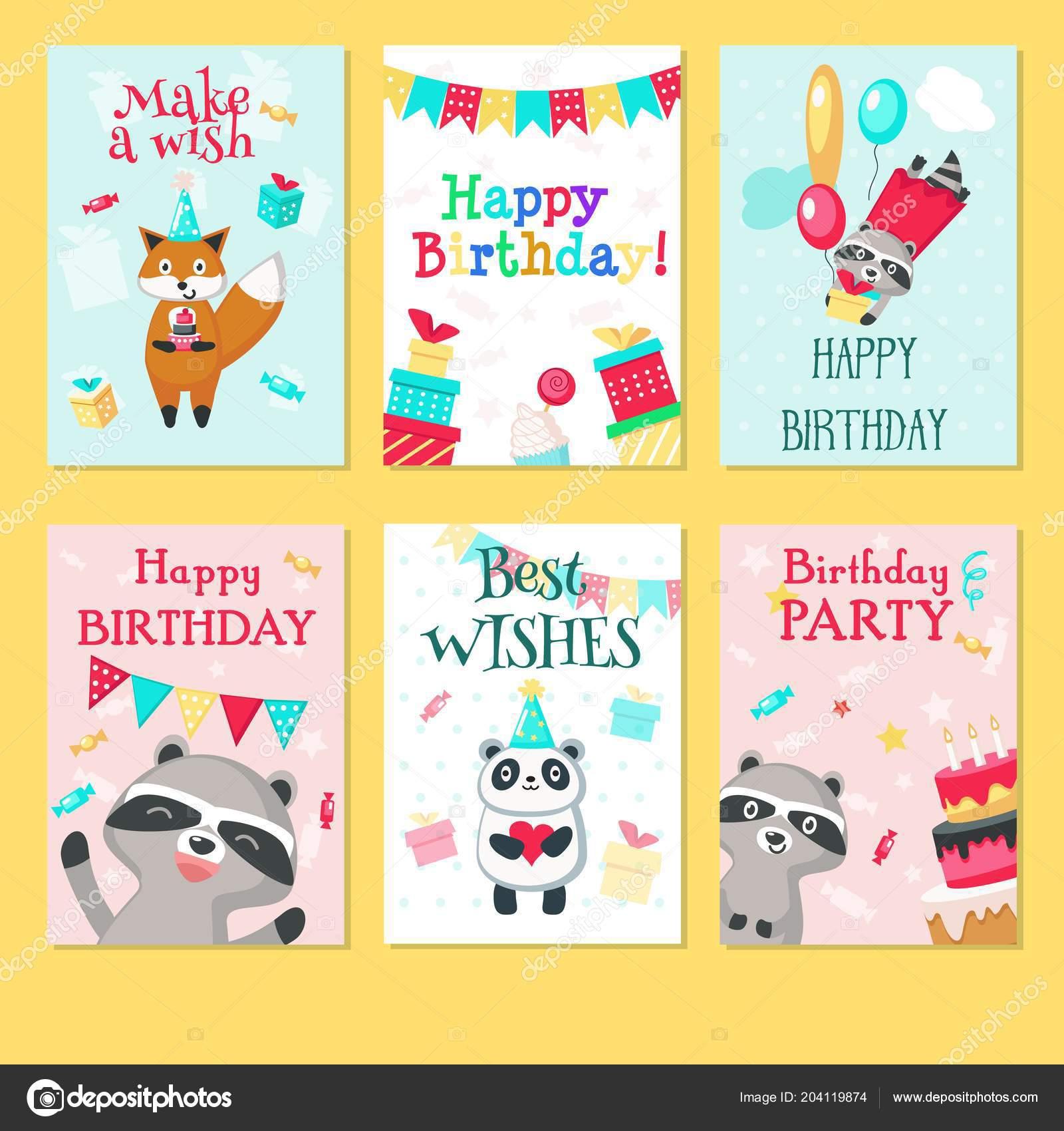 Happy Birthday Card Vector Template Set Stock Vector Siberianart