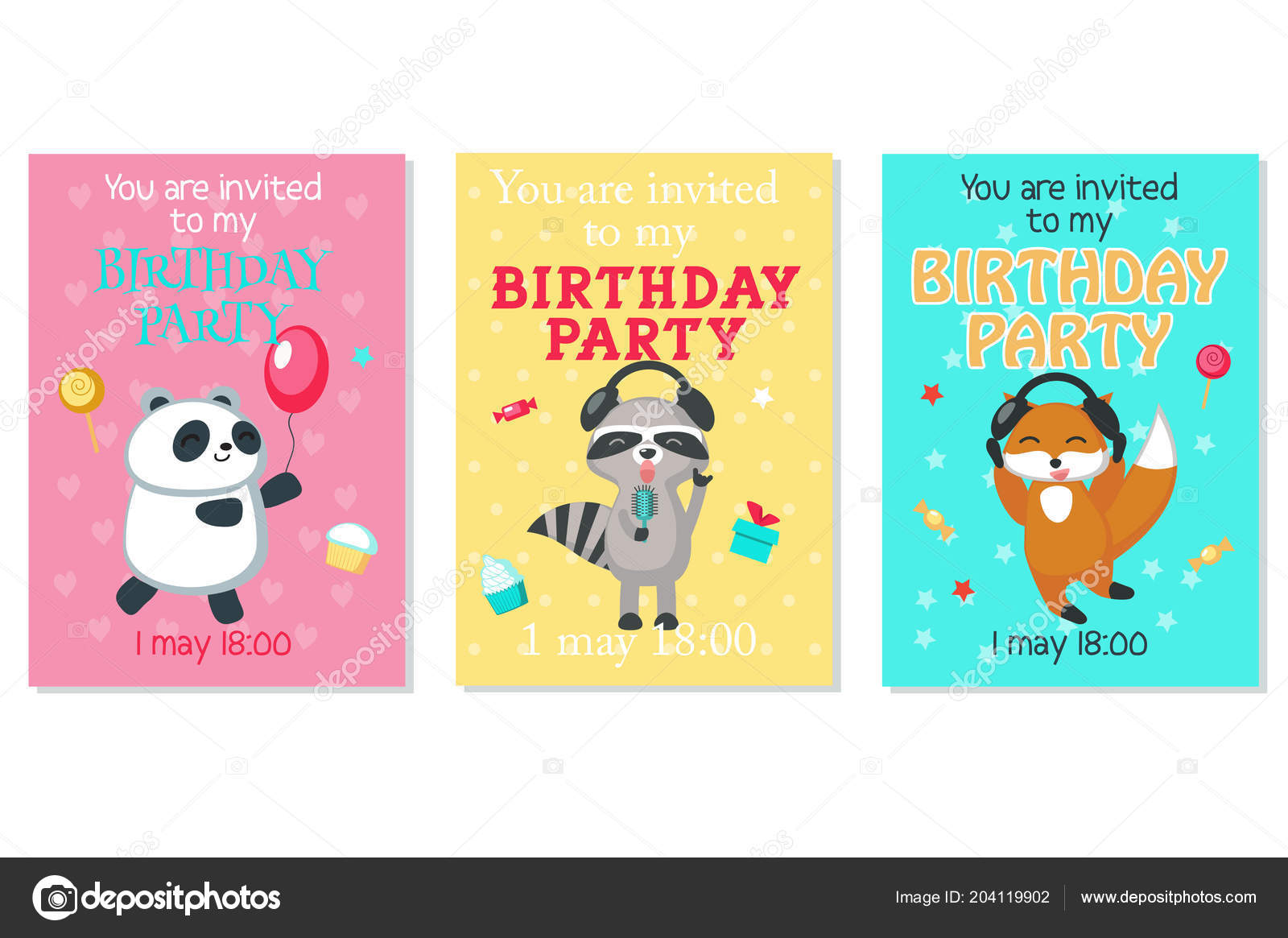 Vector birthday invitation cards with cute animals vetores de vector birthday invitation cards with cute animals vetores de stock stopboris Gallery
