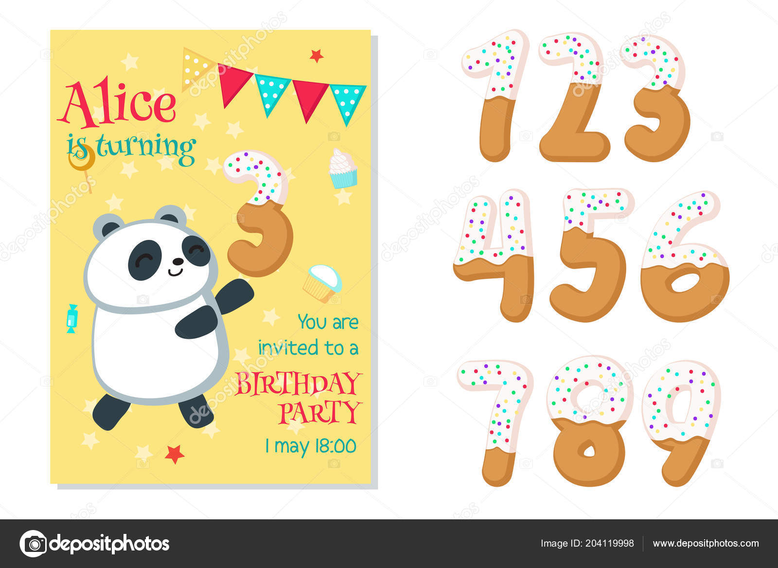 Vector birthday invitation with panda and numbers vetores de stock vector birthday invitation with panda and numbers vetores de stock stopboris Gallery