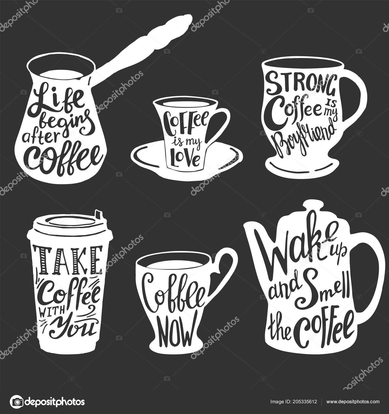 Vector Coffee Quotes And Sayings Typography Set Stock Vector