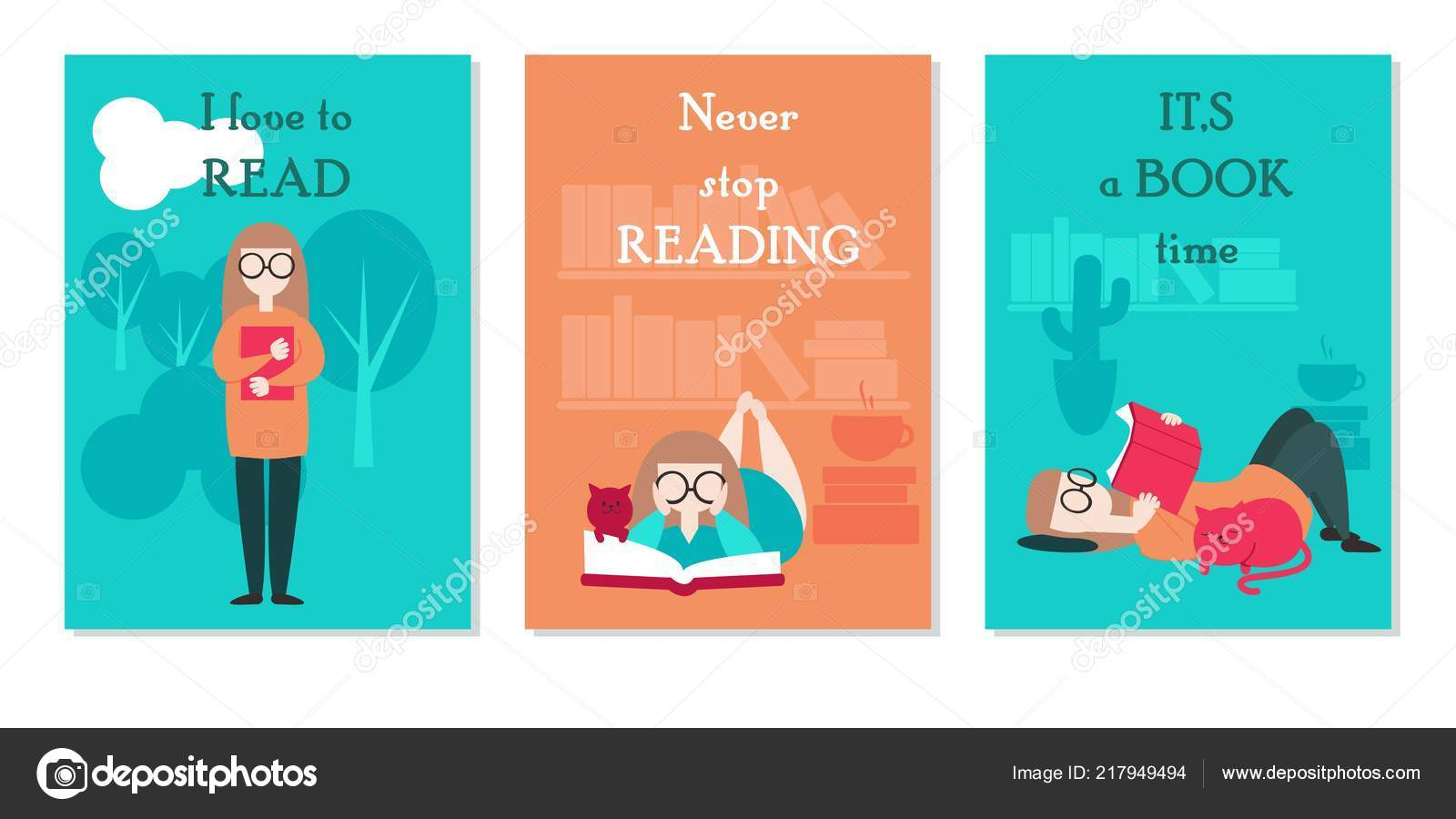Vector Card Set With Young Woman Reading Book While Standing