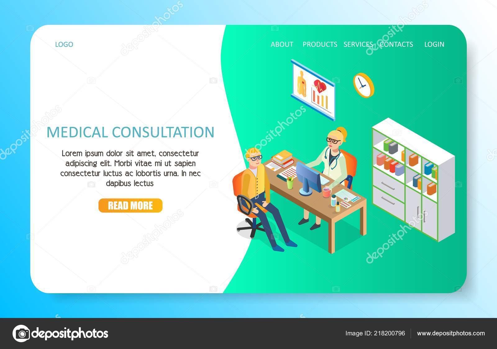 7a163882778e Modelo de site página de aterragem da consulta médica. Ilustração em vetor  isométrica do profissional médico e paciente na clínica médica — Vetor de  ...