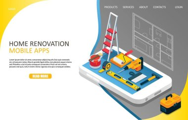 Home renovation landing page website vector template