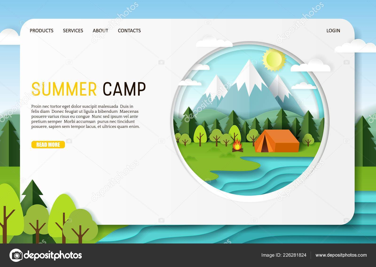 Vector Paper Cut Summer Camp Landing Page Website Template Stock