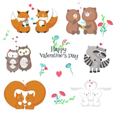 Cute happy animals couples vector isolated illustration