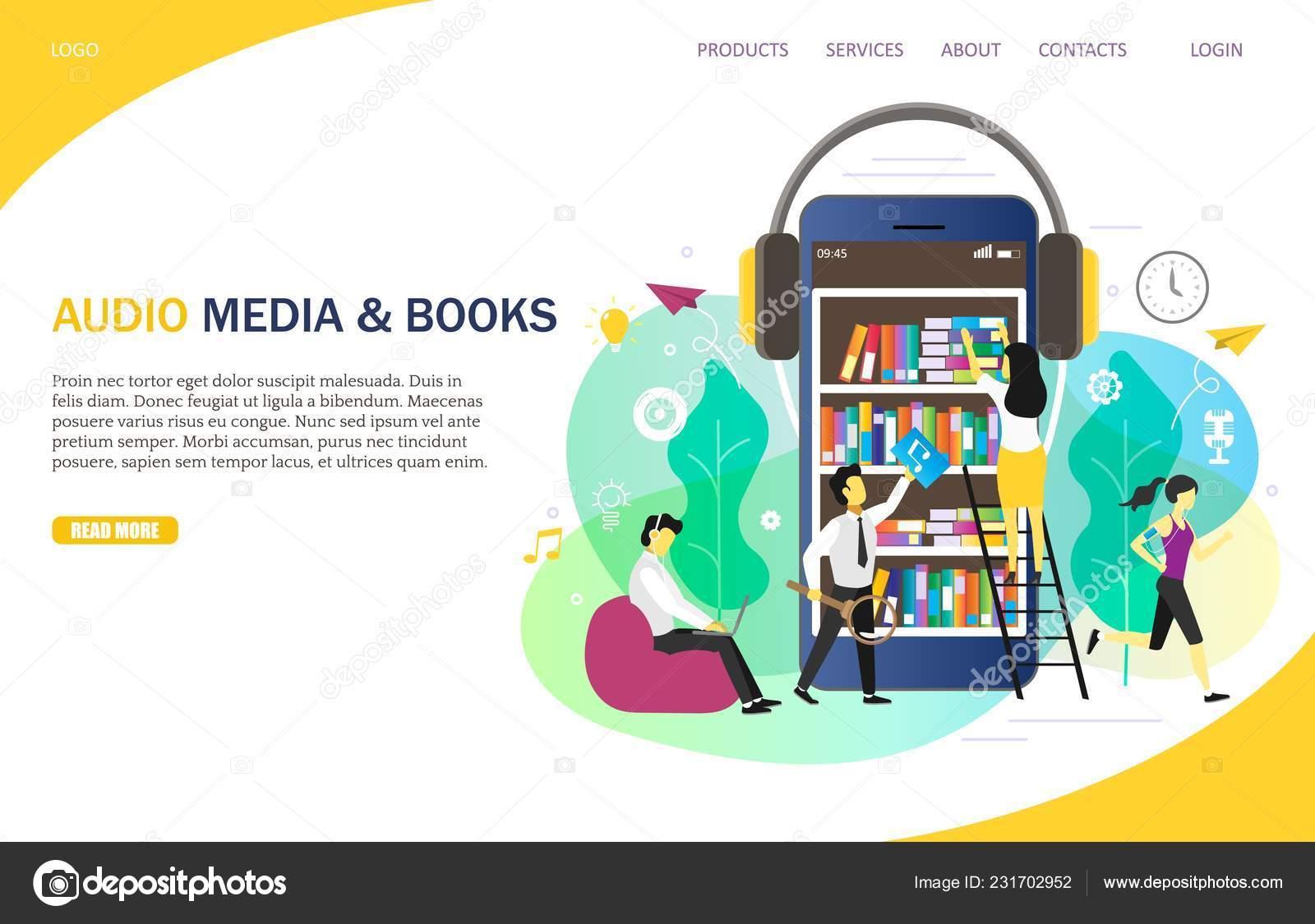 Audiobooks online landing page website vector template — Stock