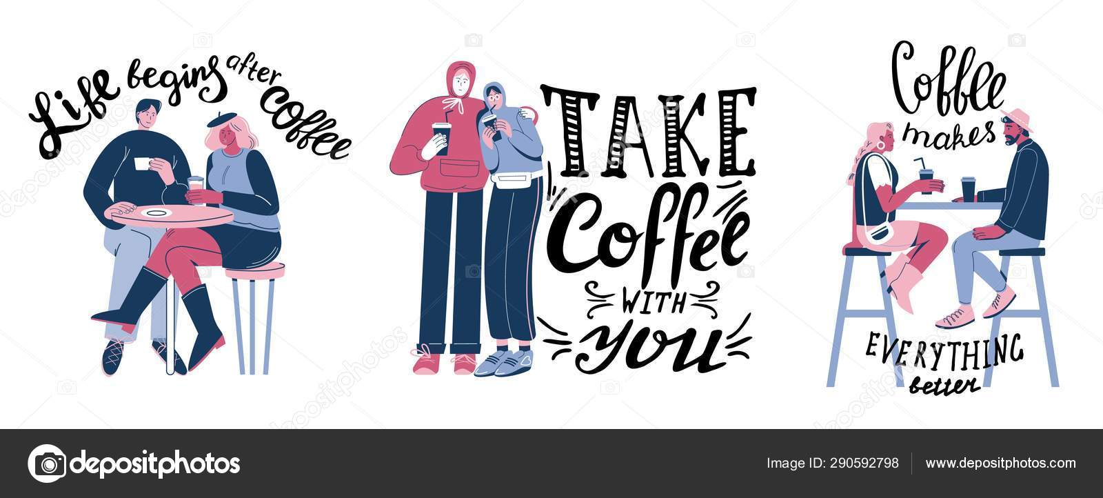motivational coffee quotes hand lettering vector illustration