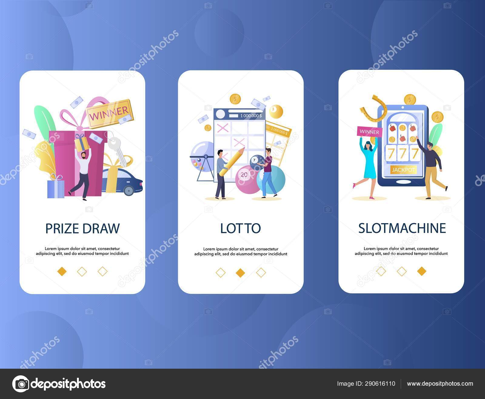 Prize draw, Lotto, Slot machine mobile app onboarding