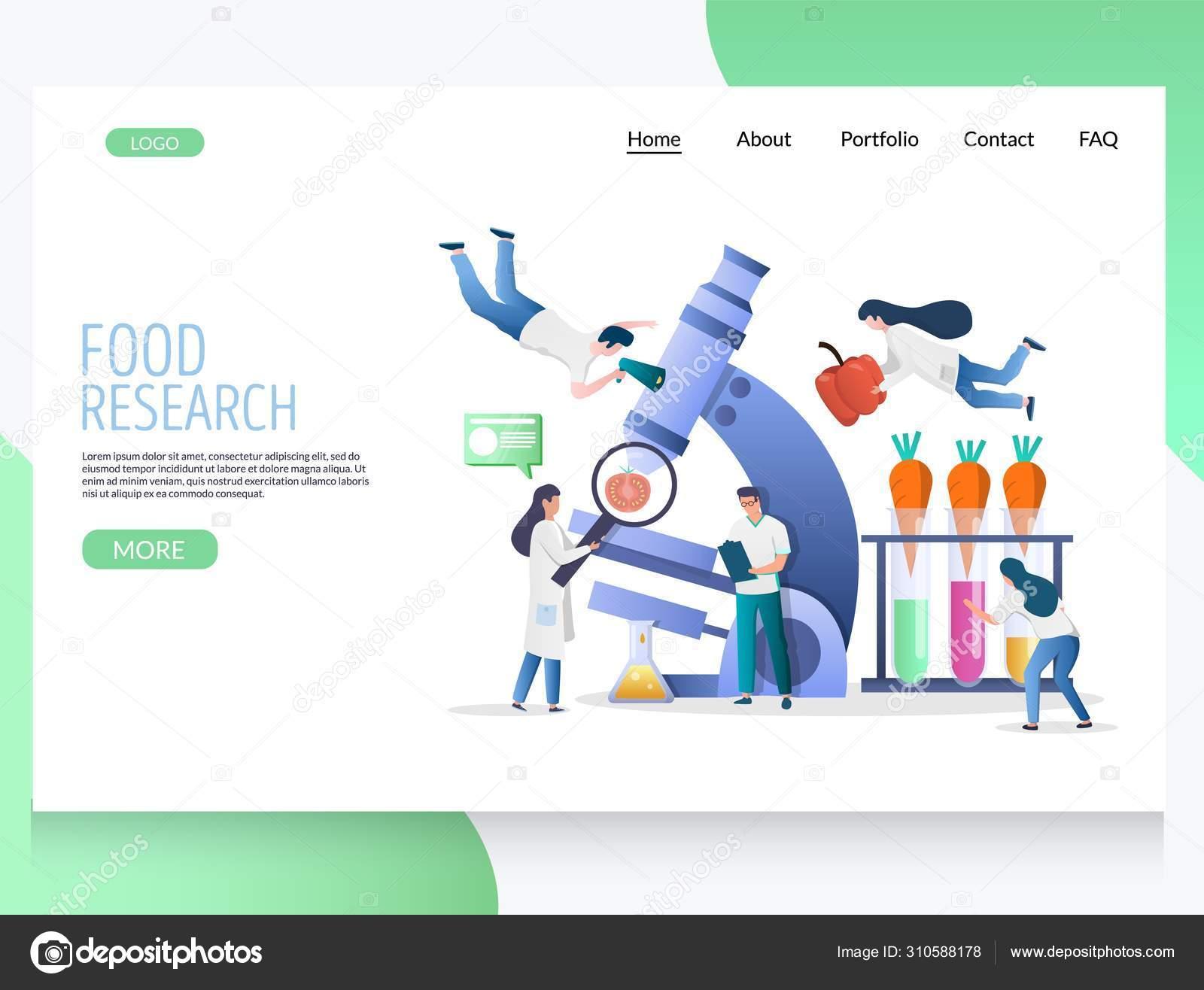 Food Research Vector Website Landing Page Design Template Stock Vector C Siberianart 310588178