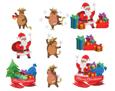 Merry Christmas set, flat vector isolated illustration. Happy Santa Claus with gifts, chinese zodiac 2021 sign, cute ox ice skating, ringing the bell, holding sparklers. Happy New Year celebration. icon