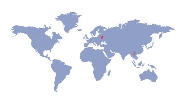 Světová mapa s geolokačními značkami. Globální komunikace. Dodávka a logistika.