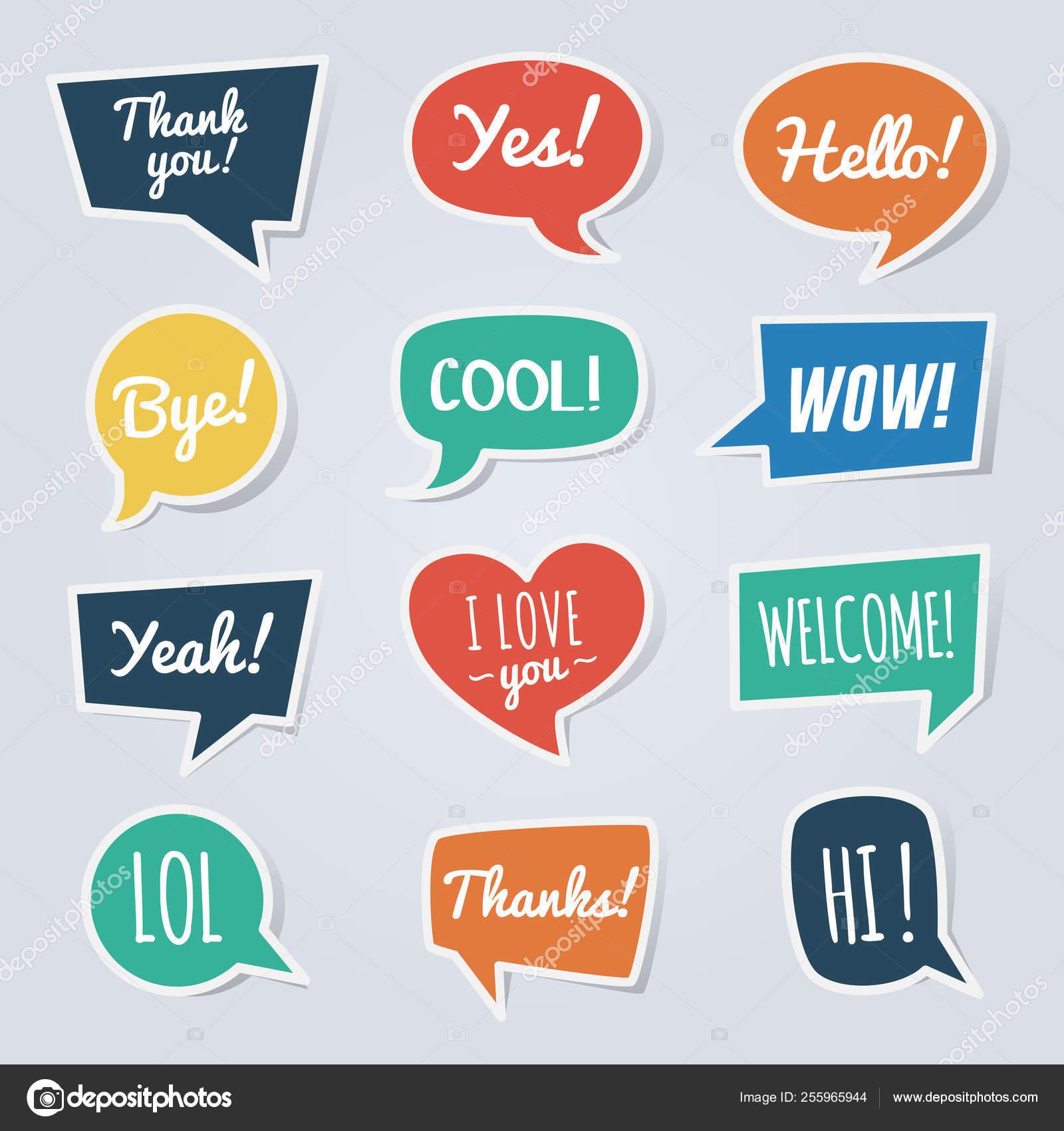 Bolha de papel do discurso com mensagens curtas  Obrigado