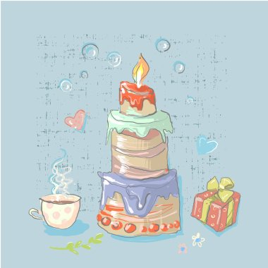 Happy Birthday set cute elements with big cake Birthday Party elements