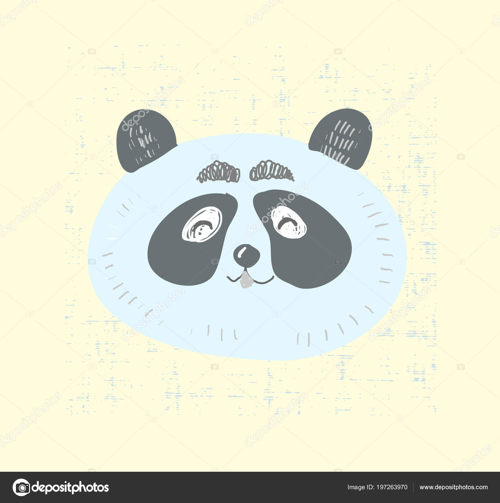 Style Scandinave Panda Mignon Visage Avec Illustration