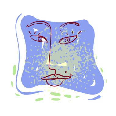 One line female portrait design. Hand drawn minimalism style vector illustration