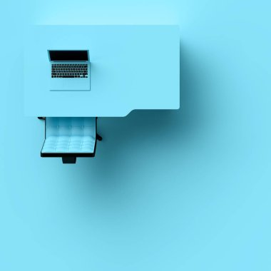 Laptop on table and chair pastel blue color top view with copy space for your text. Minimal concept 3d render.
