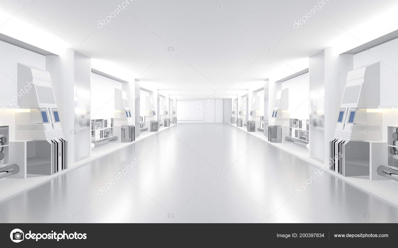 Ruimteschip wetenschap schoot sci corridor witte kleur render