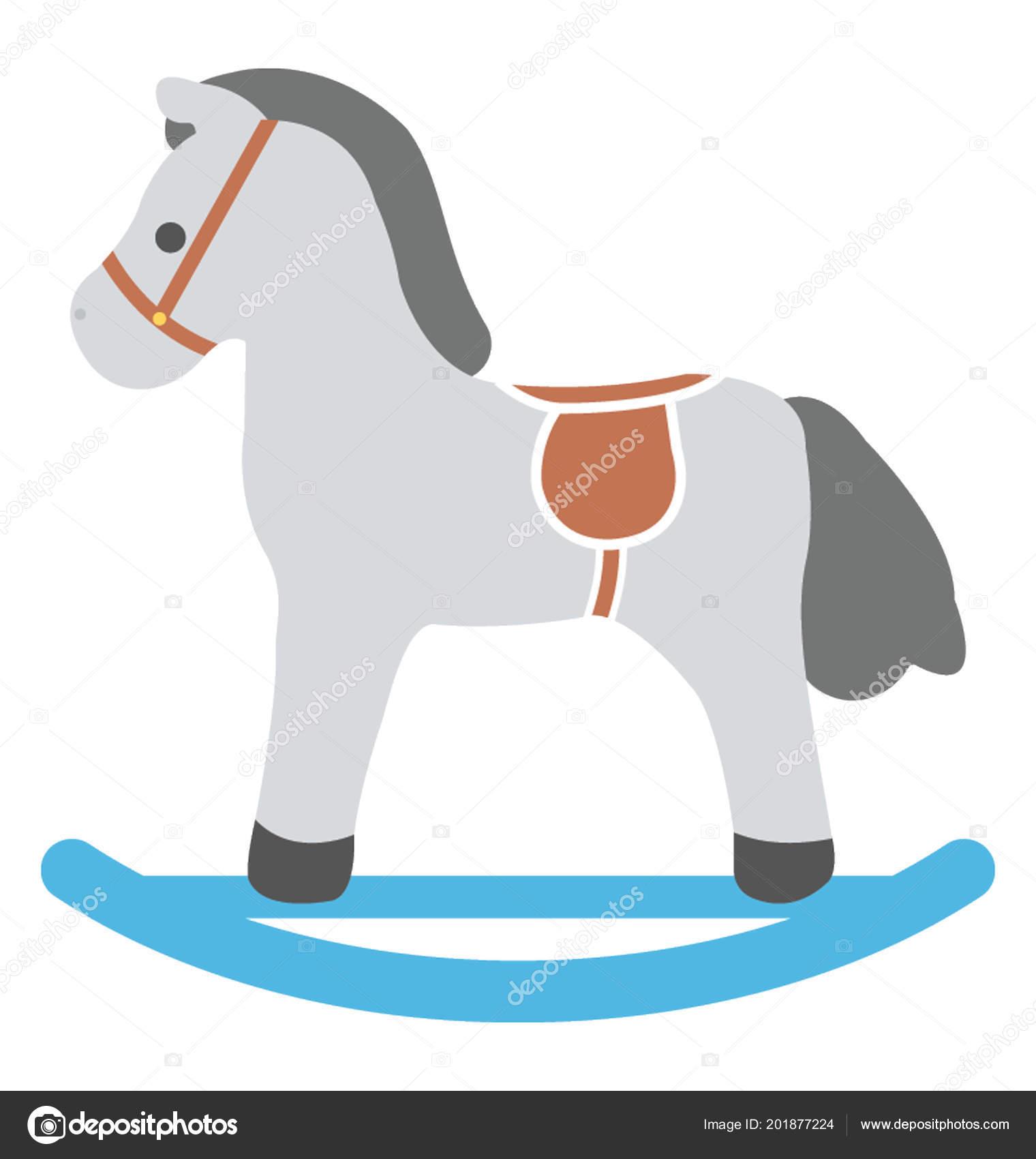 Cavallo A Dondolo Design.Design Icona Piana Cavallo Dondolo Vettoriali Stock