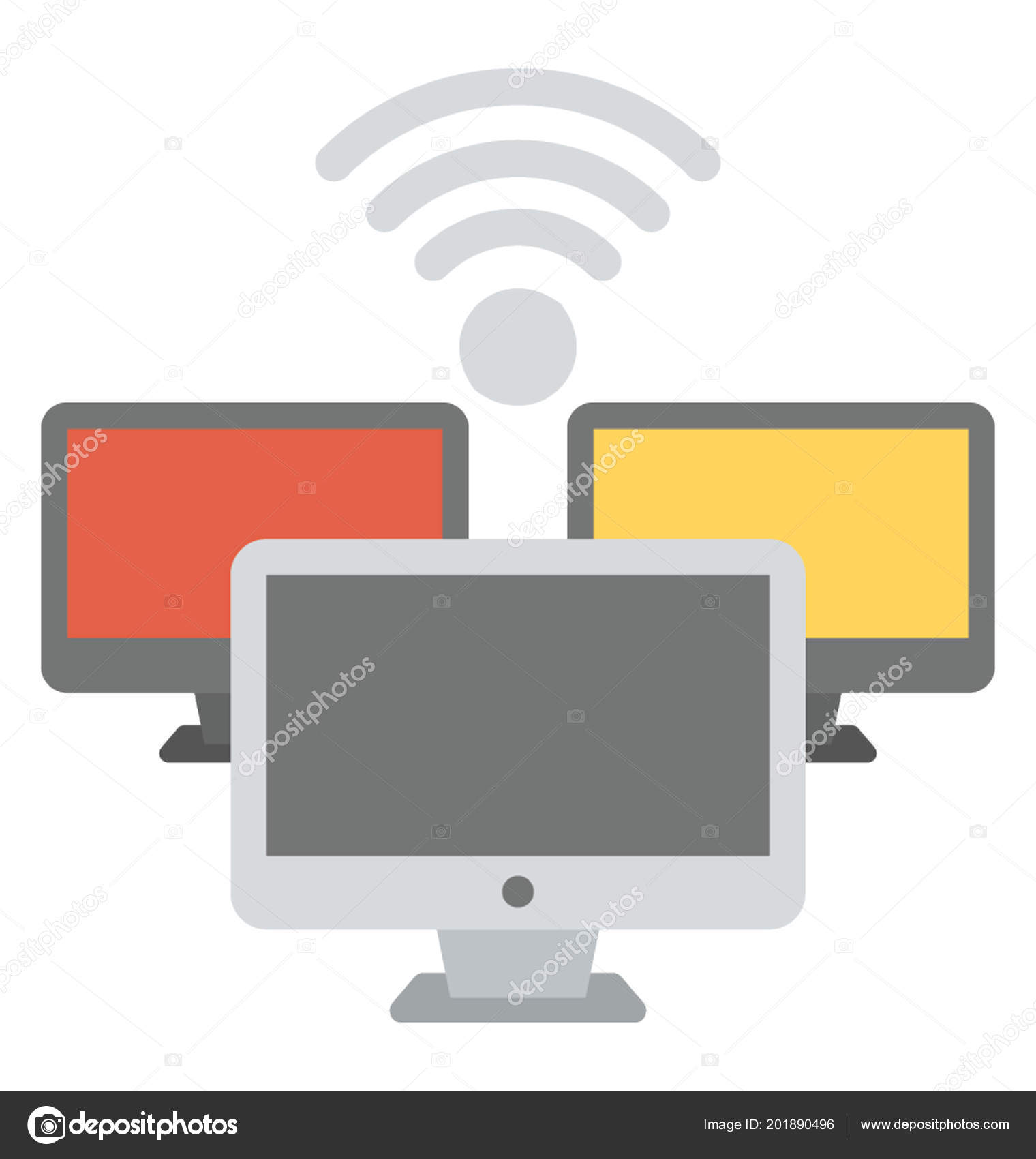 Magnificent Wifi Network Diagram Flat Icon Stock Vector C Vectorsmarket 201890496 Wiring Digital Resources Helishebarightsorg