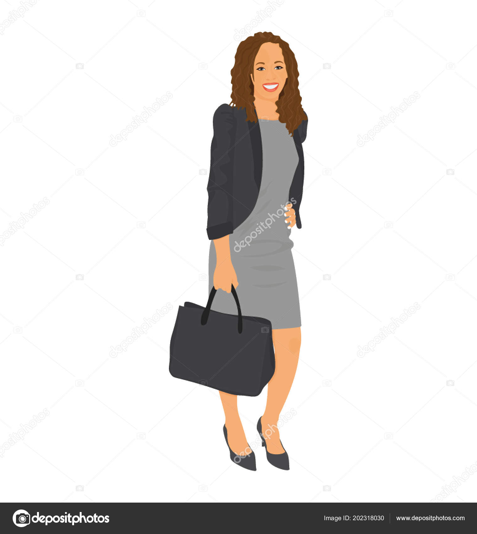 d111e021402 African Business Woman Happy Mood Holding Handbag — Stock Vector ...