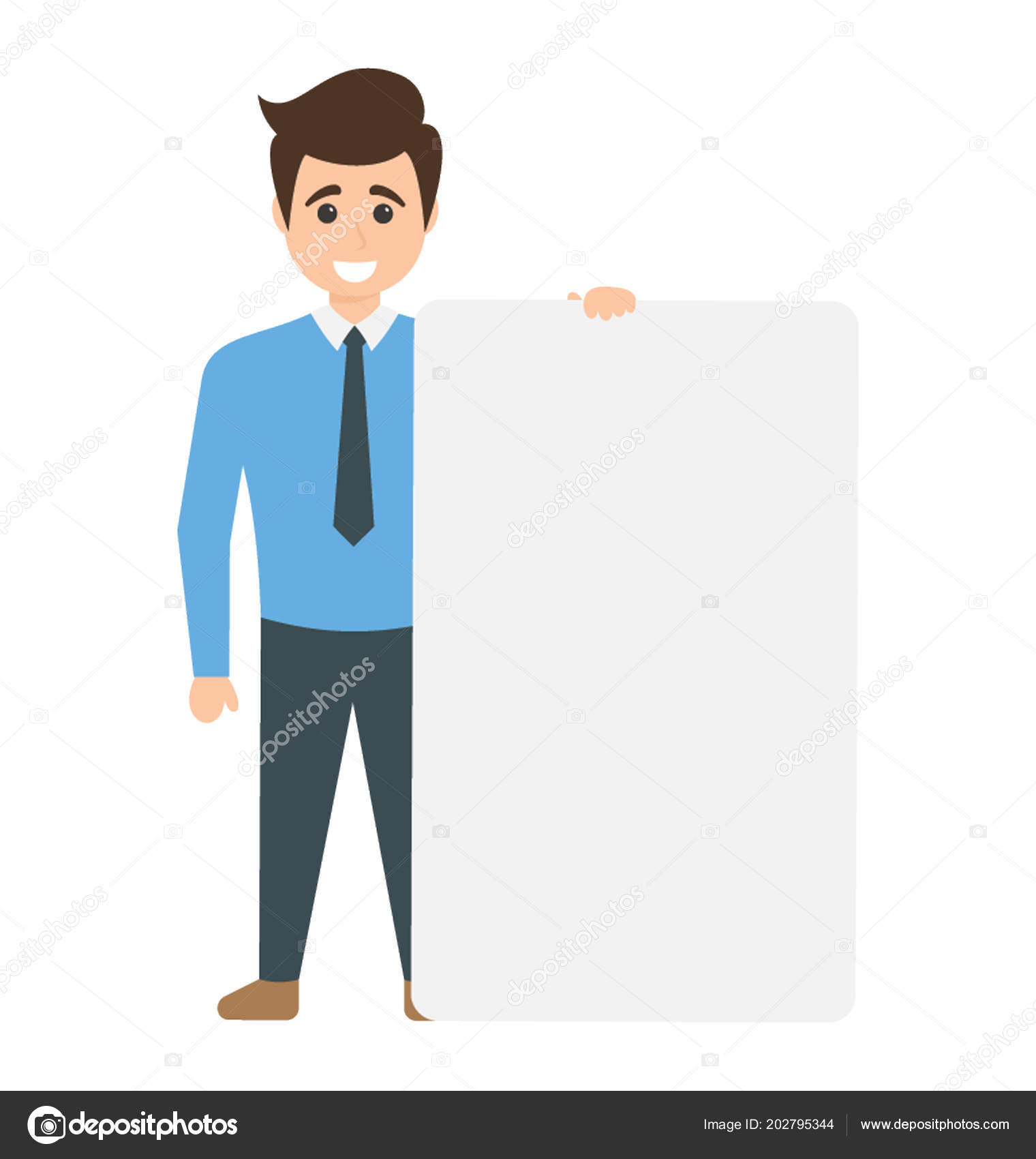 business manager holding blank sign board showing your here concept