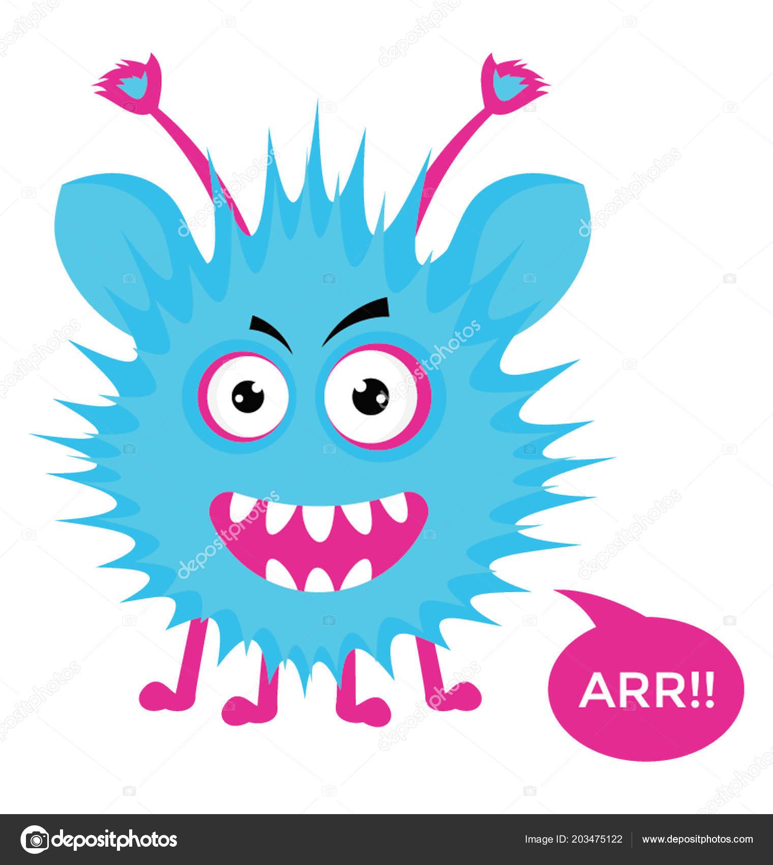 Cute Cartoon Fluffy Monster Growling Arr Message Bubble Flat Vector Stock Vector C Vectorsmarket 203475122