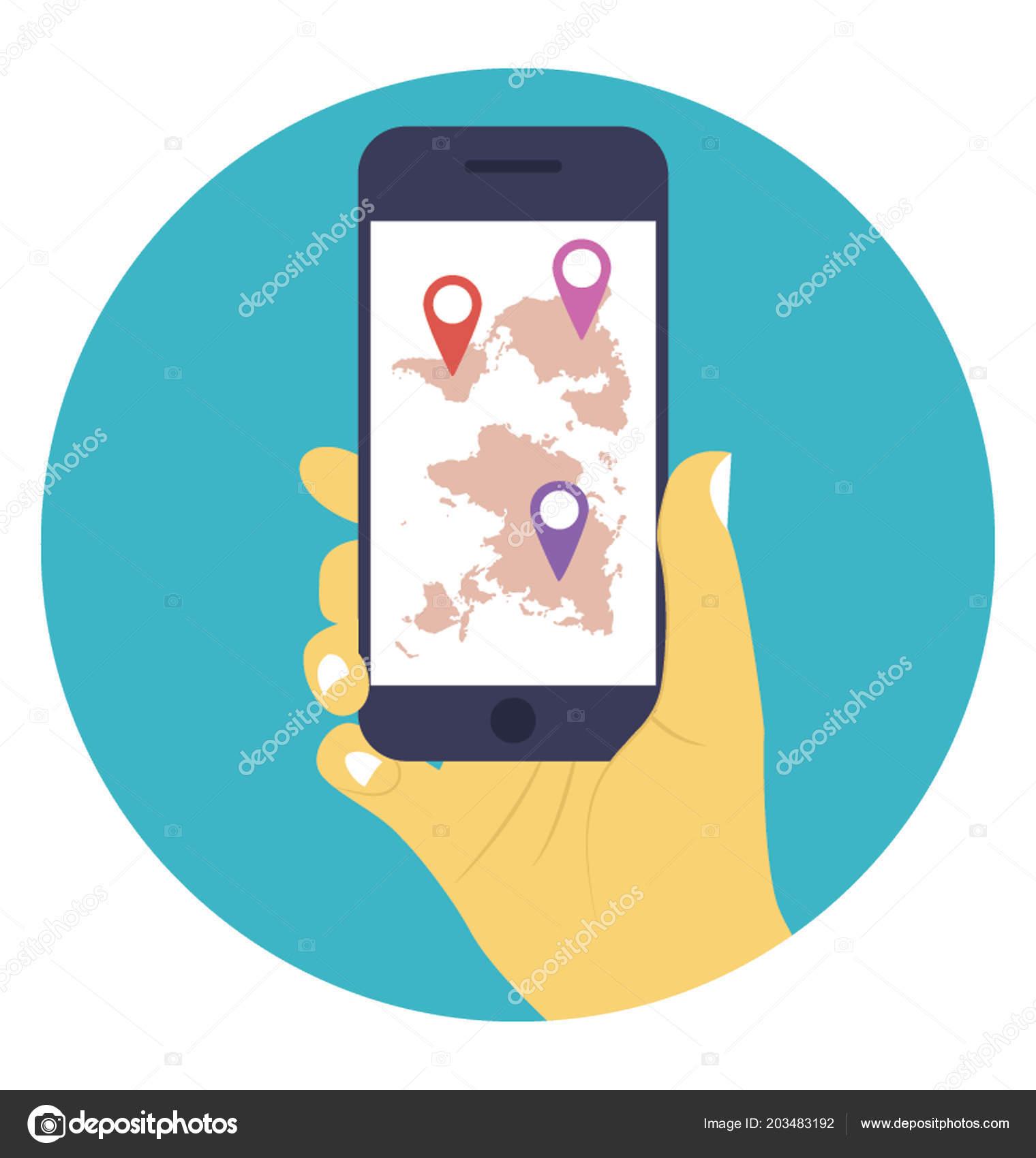 online location tracking gps tracker device ストックベクター