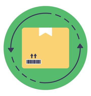 An arrow sign directing towards a package, icon as a whole describing order processing