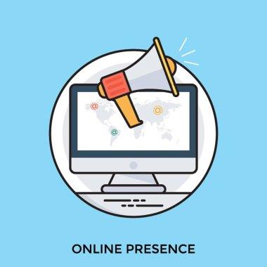 Online presence management concept vector icon