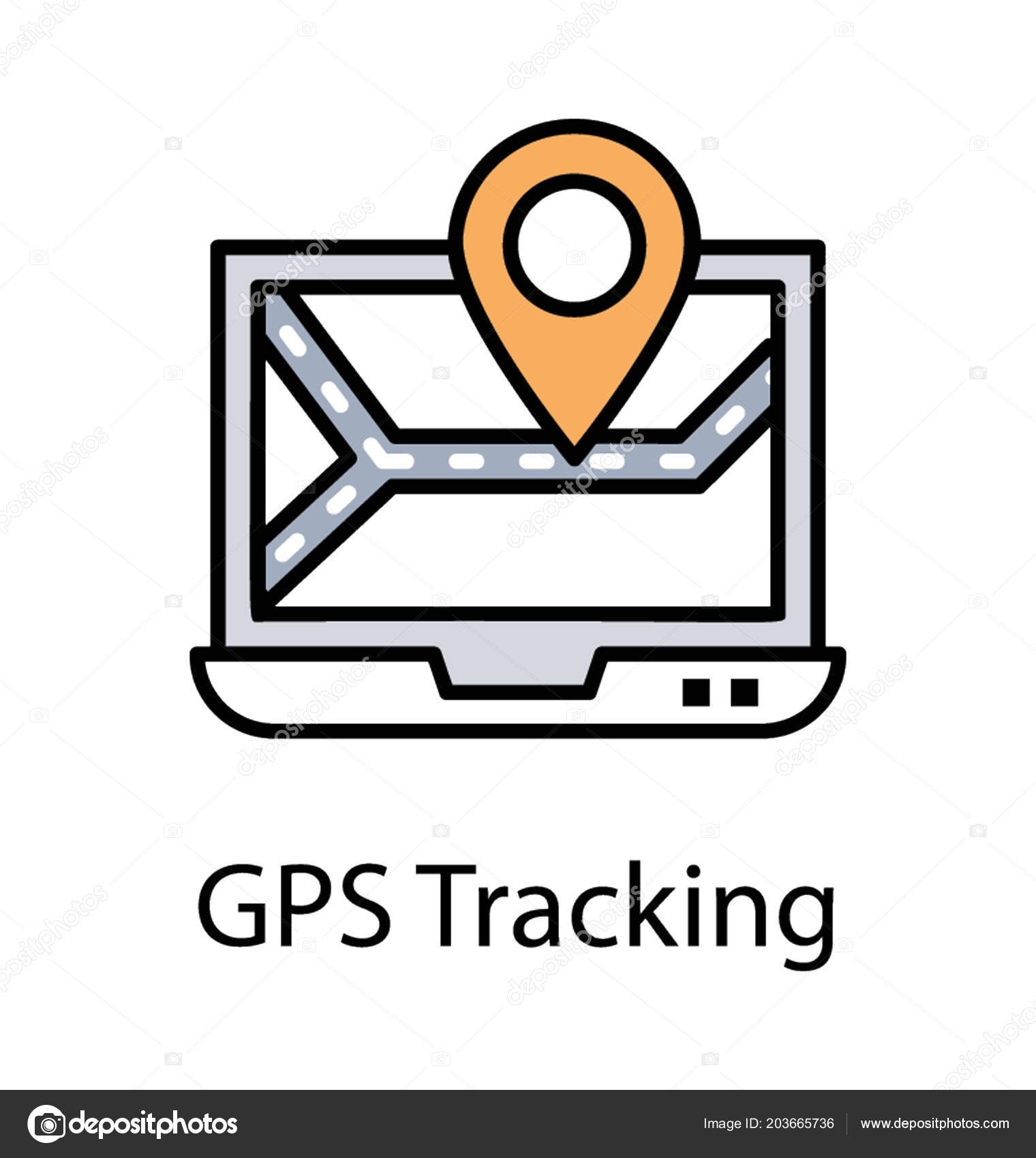 online gps tracker laptop screen online gps service icon stock