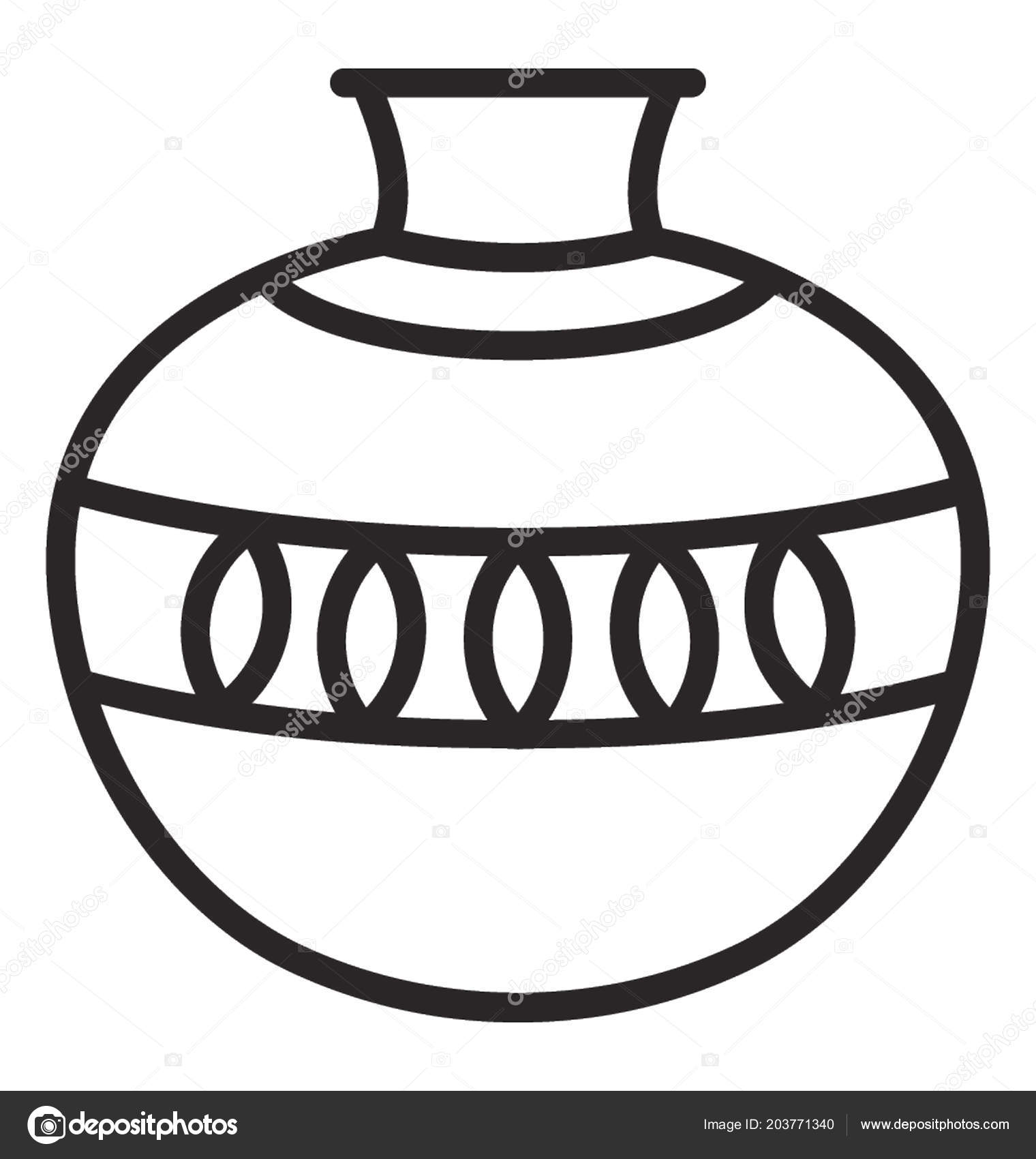 clay pot line art A spacious clay pot for keeping the water cool in a conventional way  1