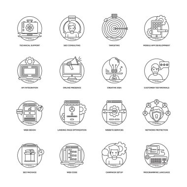 SEO and Development Line Icons