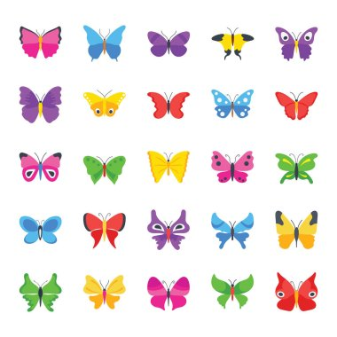 Butterfly Common Species Flat Icons