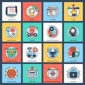 Set von flachen Vektorsymbolen für künstliche Intelligenz