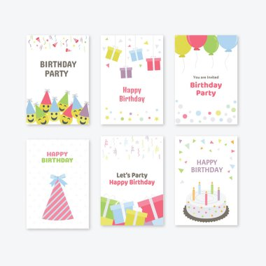 Birthday Party Cards Icons